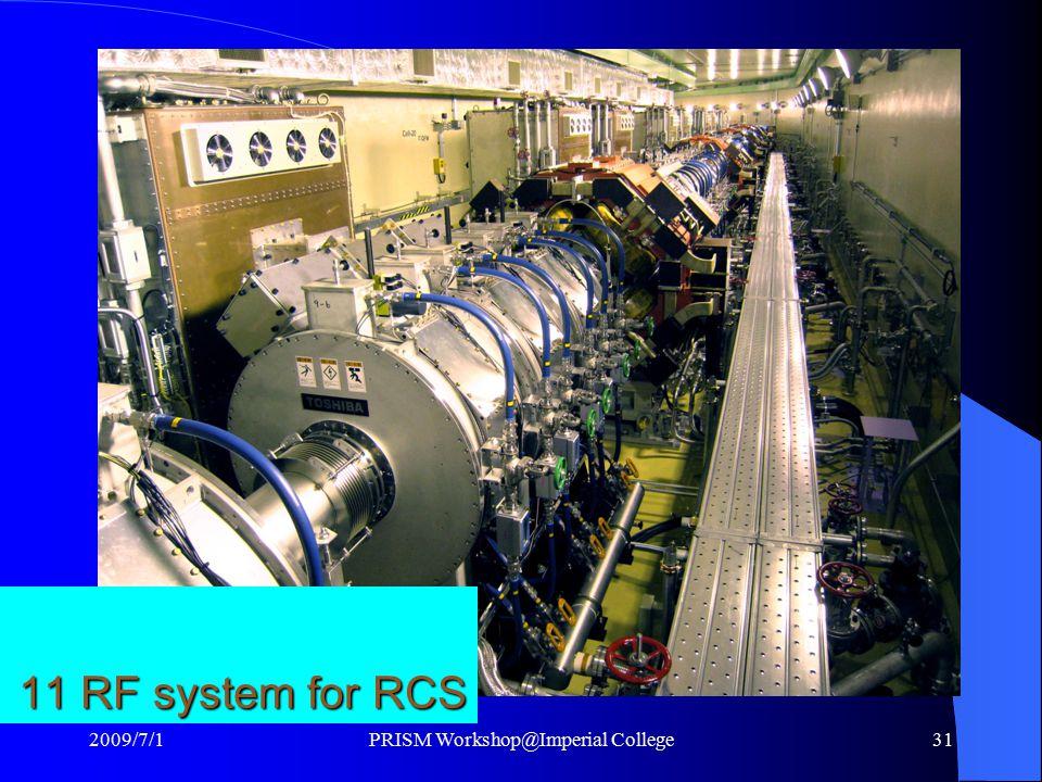 11 RF system for RCS 2009/7/1PRISM Workshop@Imperial College31