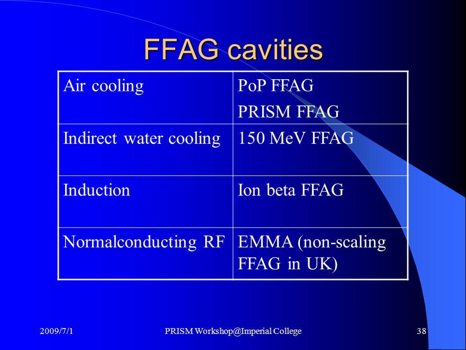 FFAG cavities Air coolingPoP FFAG PRISM FFAG Indirect water cooling150 MeV FFAG InductionIon beta FFAG Normalconducting RFEMMA (non-scaling FFAG in UK) 2009/7/1PRISM Workshop@Imperial College38