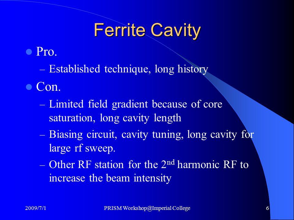 Ferrite Cavity Pro. – Established technique, long history Con.