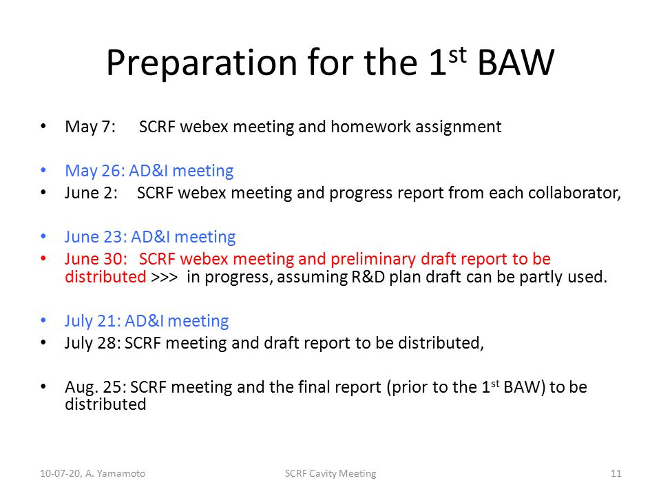 Preparation for the 1 st BAW May 7: SCRF webex meeting and homework assignment May 26: AD&I meeting June 2: SCRF webex meeting and progress report from each collaborator, June 23: AD&I meeting June 30:SCRF webex meeting and preliminary draft report to be distributed >>> in progress, assuming R&D plan draft can be partly used.