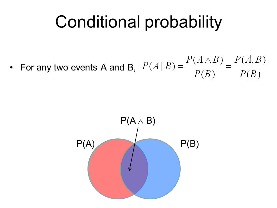 Conditional distributions A conditional distribution is a distribution over the values of one variable given fixed values of other variables P(Cavity, Toothache) Cavity = false  Toothache = false 0.8 Cavity = false  Toothache = true 0.1 Cavity = true  Toothache = false 0.05 Cavity = true  Toothache = true 0.05 P(Cavity   Toothache = true) Cavity = false0.667 Cavity = true0.333 P(Cavity Toothache = false) Cavity = false0.941 Cavity = true0.059 P(Toothache   Cavity = true) Toothache= false0.5 Toothache = true0.5 P(Toothache   Cavity = false) Toothache= false0.889 Toothache = true0.111