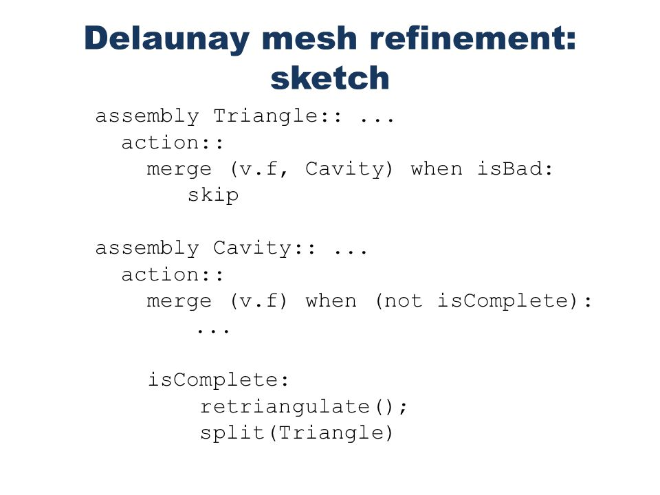 Delaunay mesh refinement: sketch assembly Triangle::...
