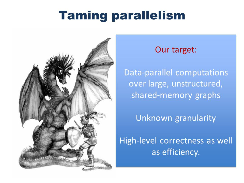 Taming parallelism Our target: Data-parallel computations over large, unstructured, shared-memory graphs Unknown granularity High-level correctness as well as efficiency.