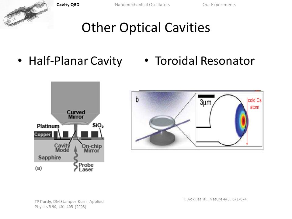 Cavity QEDNanomechanical OscillatorsOur Experiments Other Optical Cavities Half-Planar Cavity Toroidal Resonator T.