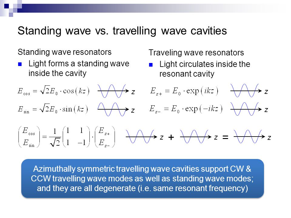 Standing wave resonators Light forms a standing wave inside the cavity Traveling wave resonators Light circulates inside the resonant cavity z z zz Azimuthally symmetric travelling wave cavities support CW & CCW travelling wave modes as well as standing wave modes; and they are all degenerate (i.e.