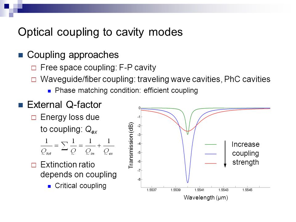 Optical coupling to cavity modes Coupling approaches  Free space coupling: F-P cavity  Waveguide/fiber coupling: traveling wave cavities, PhC cavities Phase matching condition: efficient coupling External Q-factor  Energy loss due to coupling: Q ex  Extinction ratio depends on coupling Critical coupling Transmission (dB) Wavelength (μm) Increase coupling strength
