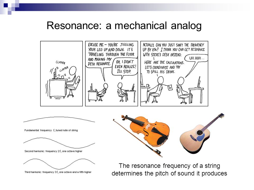 Resonance: a mechanical analog The resonance frequency of a string determines the pitch of sound it produces