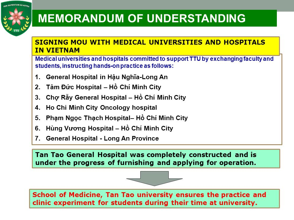 10 CURRICULUM IN DETAILS Six year curriculum of General Medicine is as follows: No.Studying LoadCourse unit 1 General Knowledge (exluding Physical Education and National Defence & Security Education) 64 2 Professional Knowledge247 Total311 General Medicine curriculum at TTU was approved by the Scientific Committee of Hanoi Medical University on April 01, 2013 Graduates will have equivalent ability with graduated doctors in U.S.A and can apply for intern position at medical universities and hospitals in U.S.A After internship period, TTU medical graduates are able to apply for practice certificate in U.S.A Special characteristics of the general medicine of TTU: