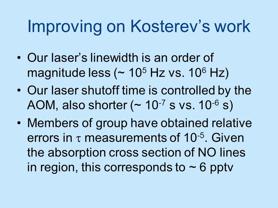 Improving on Kosterev's work Our laser's linewidth is an order of magnitude less (~ 10 5 Hz vs. 10 6 Hz) Our laser shutoff time is controlled by the A