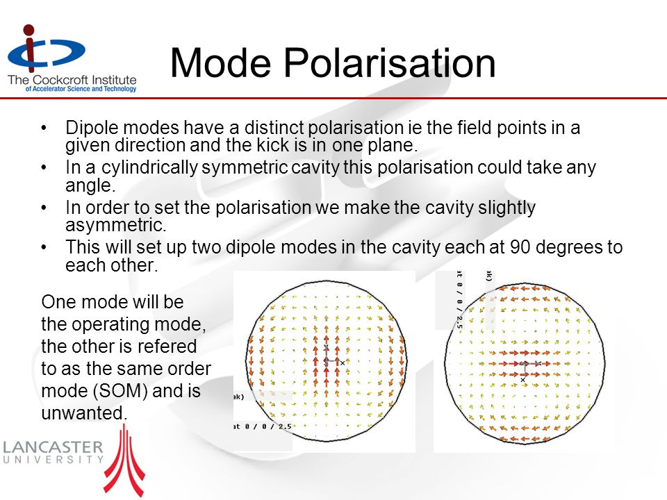 Mode Polarisation Dipole modes have a distinct polarisation ie the field points in a given direction and the kick is in one plane.