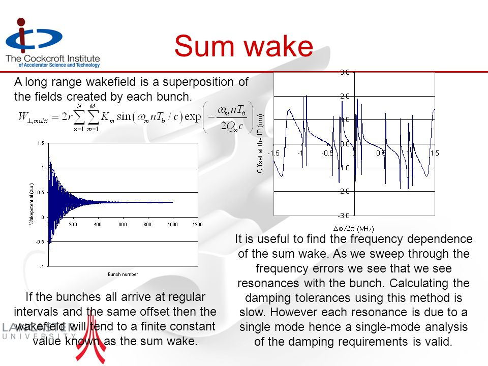 Sum wake If the bunches all arrive at regular intervals and the same offset then the wakefield will tend to a finite constant value known as the sum wake.