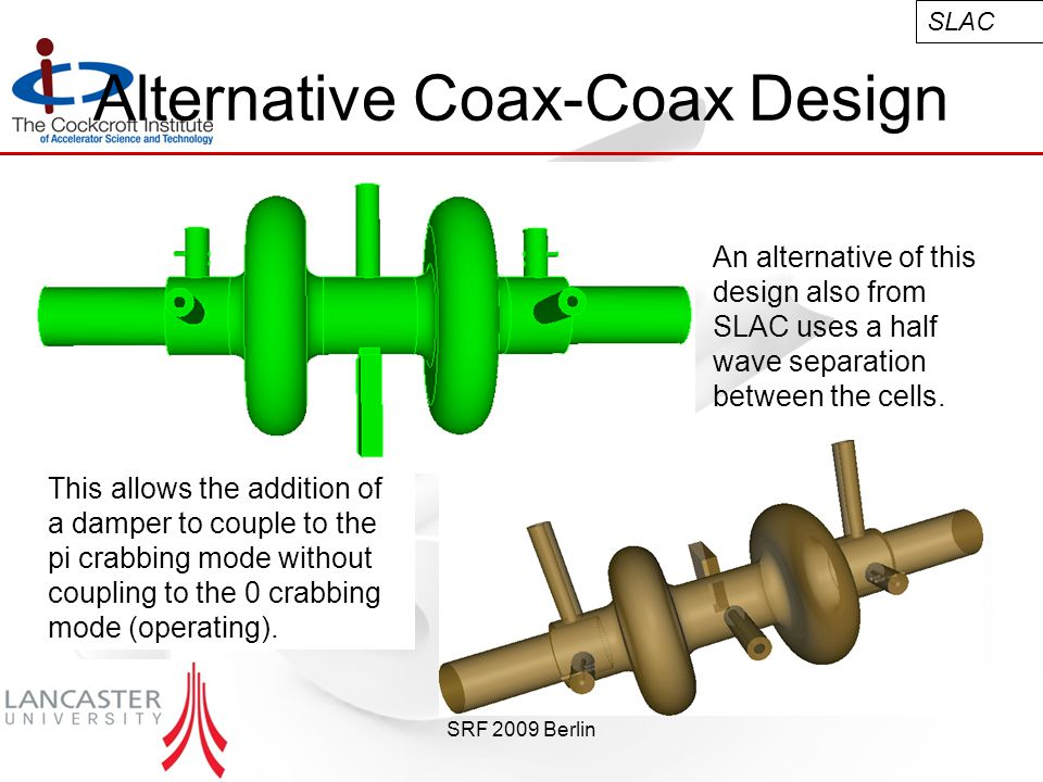 SRF 2009 Berlin Alternative Coax-Coax Design An alternative of this design also from SLAC uses a half wave separation between the cells.
