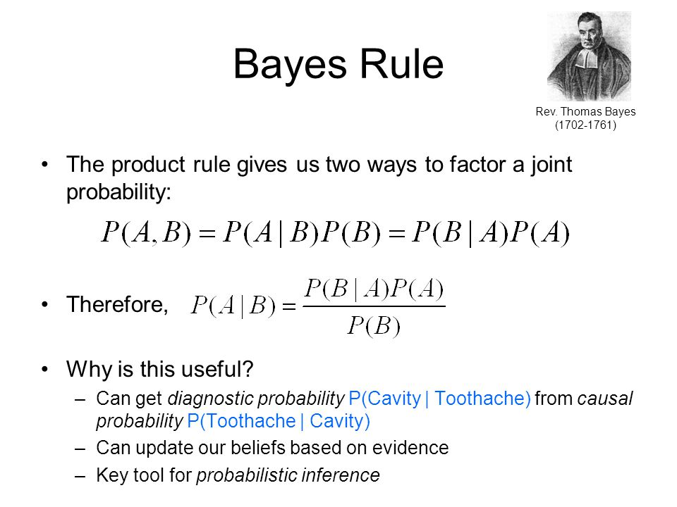 Bayes Rule The product rule gives us two ways to factor a joint probability: Therefore, Why is this useful.