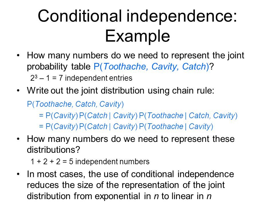 Conditional independence: Example How many numbers do we need to represent the joint probability table P(Toothache, Cavity, Catch).
