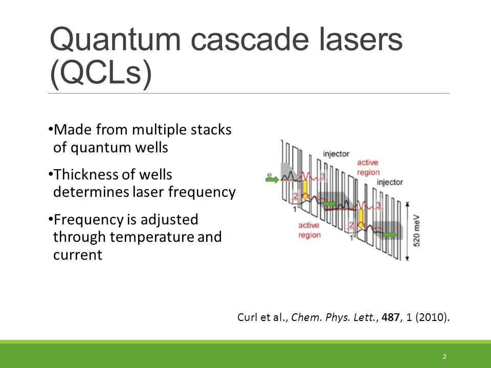 Quantum cascade lasers (QCLs) Made from multiple stacks of quantum wells Thickness of wells determines laser frequency Frequency is adjusted through temperature and current 2 Curl et al., Chem.