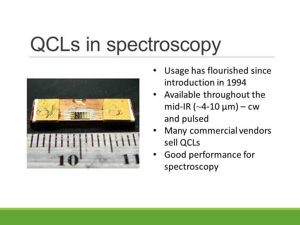 Our QCL spectrometer Goal to observe C 60 near 8.5 µm Based on a Fabry-Perot quantum cascade laser (QCL) Uses cavity ringdown spectroscopy Has been used to observe CH 2 Br 2, C 16 H 10, Ar-D 2 O, and (D 2 O) 2 Talk TJ14