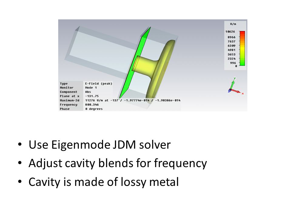 Use Eigenmode JDM solver Adjust cavity blends for frequency Cavity is made of lossy metal
