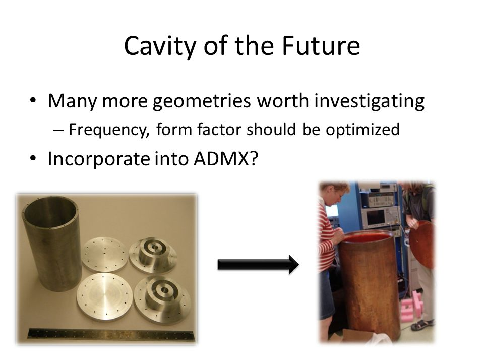 Cavity of the Future Many more geometries worth investigating – Frequency, form factor should be optimized Incorporate into ADMX