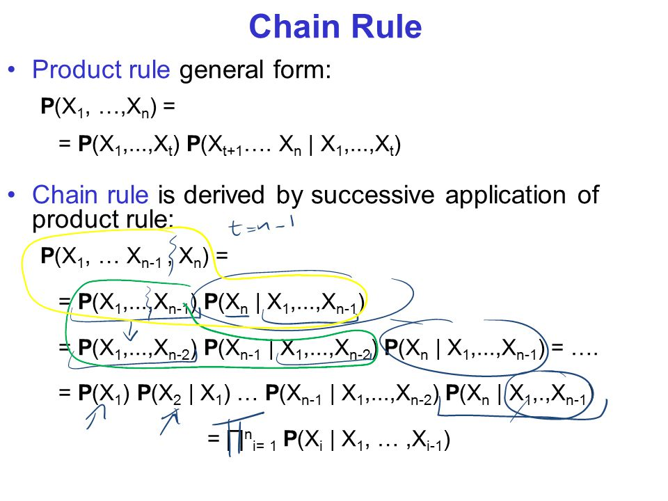 Chain Rule Product rule general form: P(X 1, …,X n ) = = P(X 1,...,X t ) P(X t+1 ….