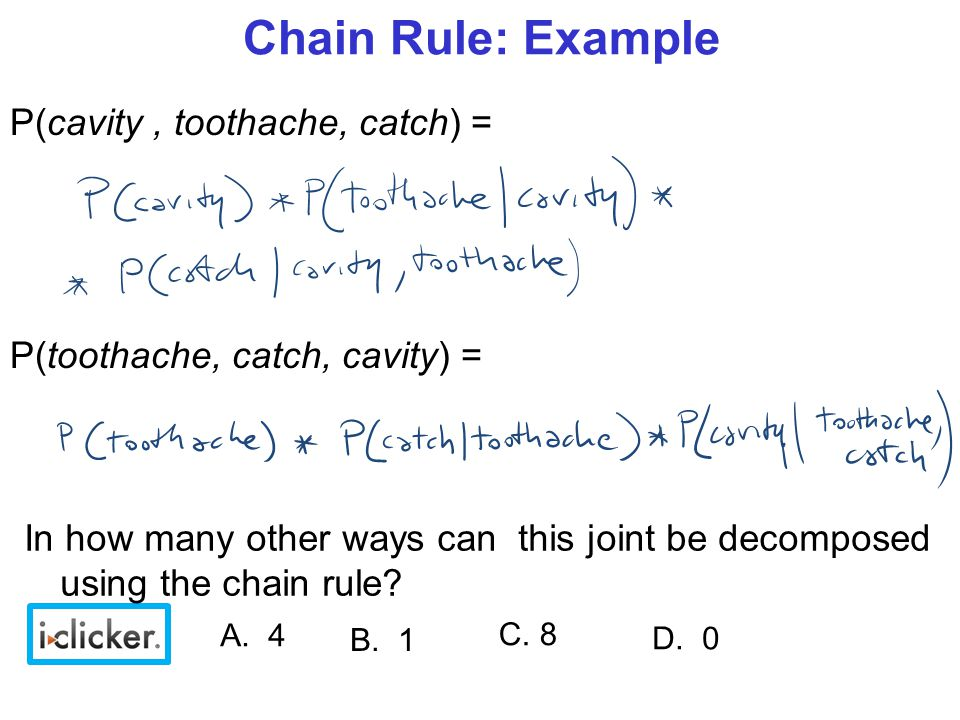 Chain Rule: Example P(cavity, toothache, catch) = P(toothache, catch, cavity) = C.