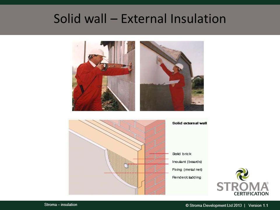 © Stroma Development Ltd 2013 | Version 1.1 Stroma – insulation Solid wall – External Insulation