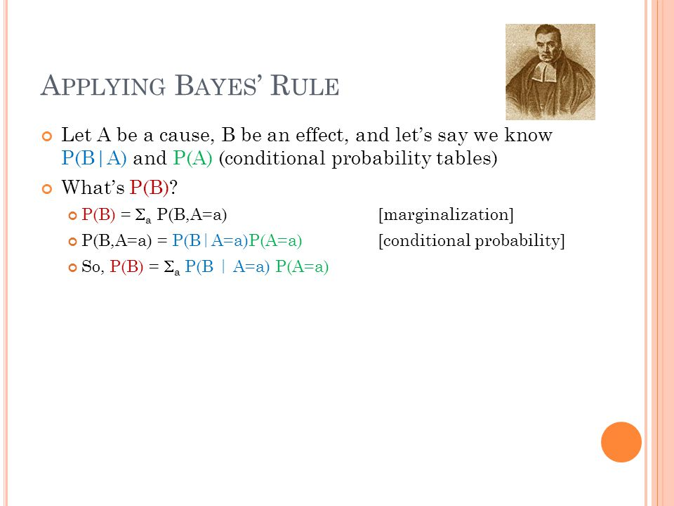A PPLYING B AYES ' R ULE Let A be a cause, B be an effect, and let's say we know P(B|A) and P(A) (conditional probability tables) What's P(B).