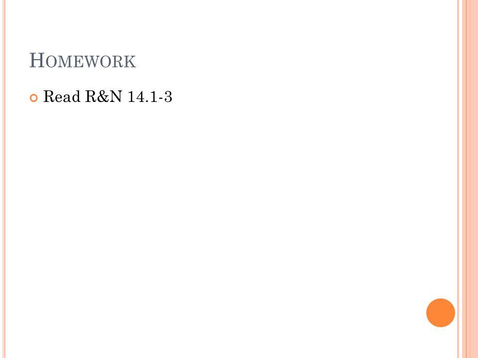 H OMEWORK Read R&N 14.1-3
