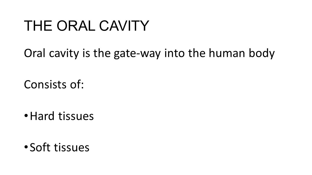 THE ORAL CAVITY Oral cavity is the gate-way into the human body Consists of: Hard tissues Soft tissues