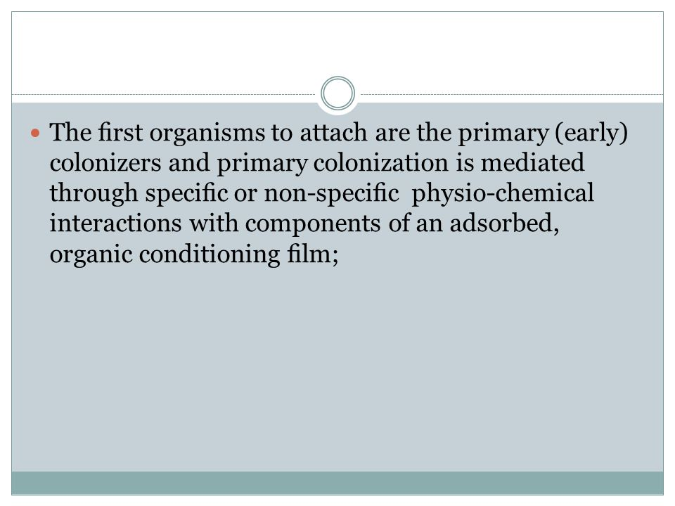 The first organisms to attach are the primary (early) colonizers and primary colonization is mediated through specific or non-specific physio-chemical interactions with components of an adsorbed, organic conditioning film;