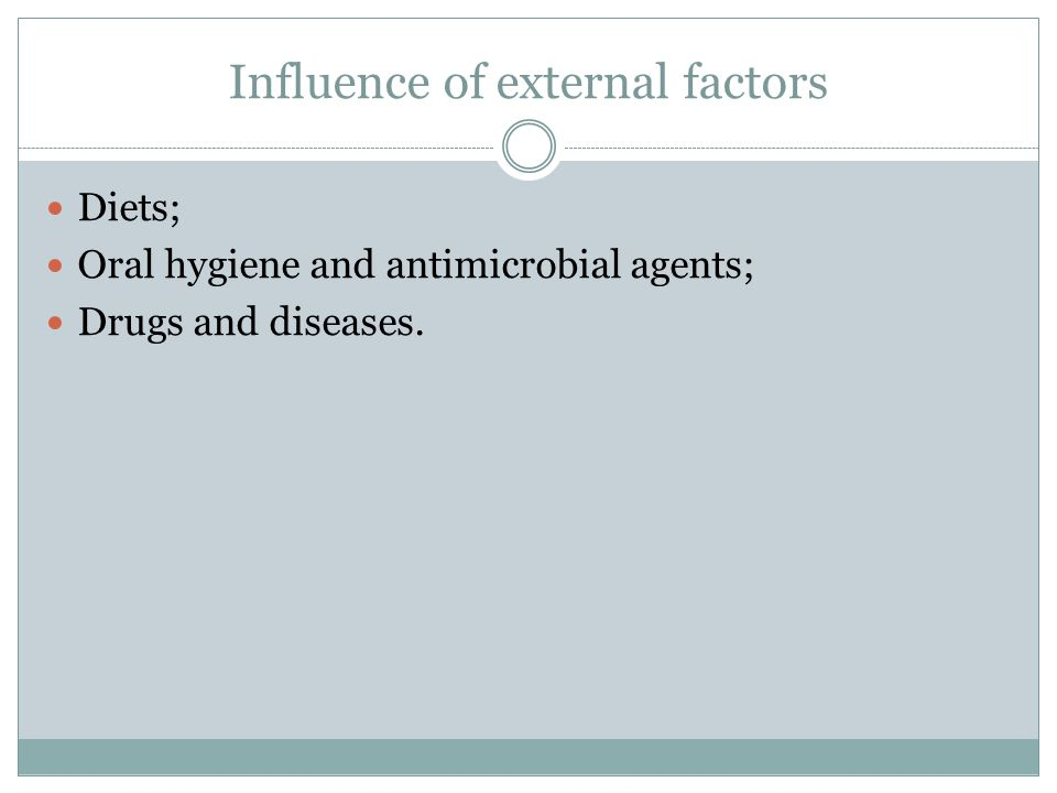 Influence of external factors Diets; Oral hygiene and antimicrobial agents; Drugs and diseases.