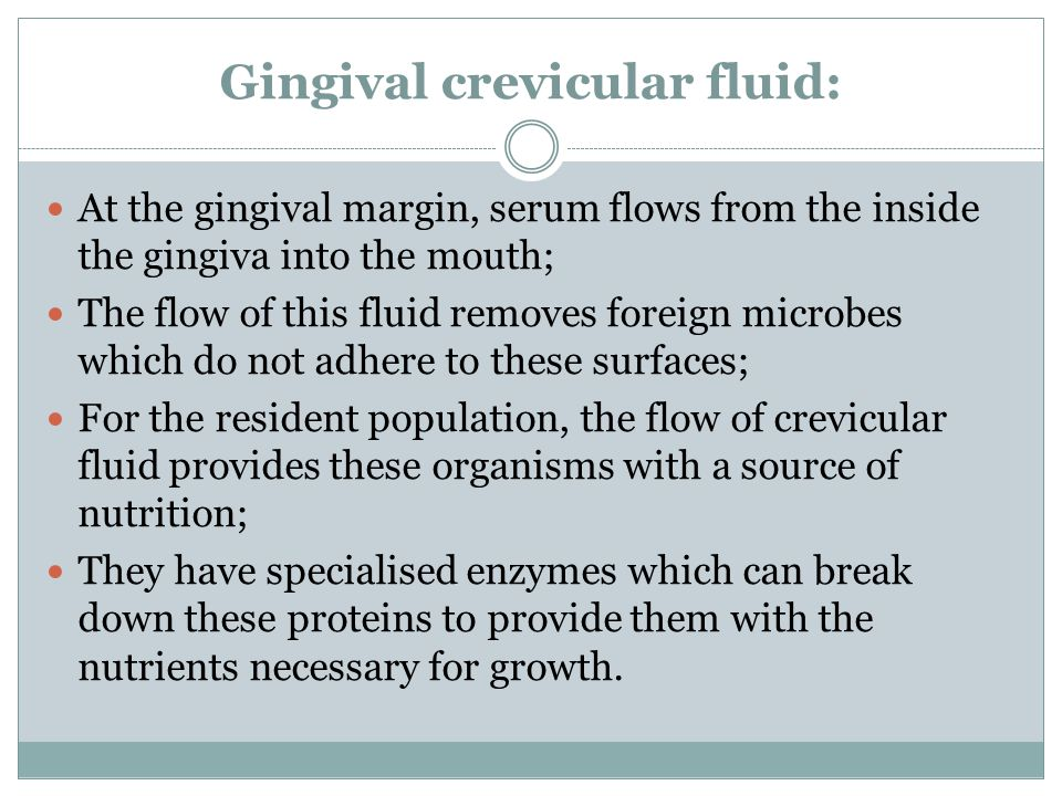 Gingival crevicular fluid: At the gingival margin, serum flows from the inside the gingiva into the mouth; The flow of this fluid removes foreign microbes which do not adhere to these surfaces; For the resident population, the flow of crevicular fluid provides these organisms with a source of nutrition; They have specialised enzymes which can break down these proteins to provide them with the nutrients necessary for growth.