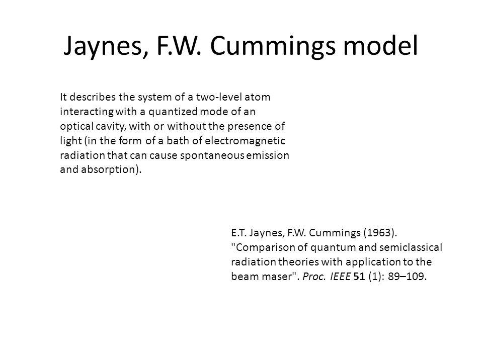 Jaynes, F.W. Cummings model E.T. Jaynes, F.W. Cummings (1963).
