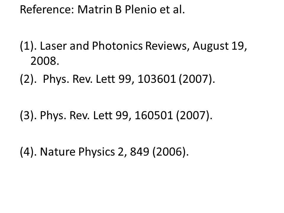 Reference: Matrin B Plenio et al. (1). Laser and Photonics Reviews, August 19, 2008. (2). Phys. Rev. Lett 99, 103601 (2007). (3). Phys. Rev. Lett 99,