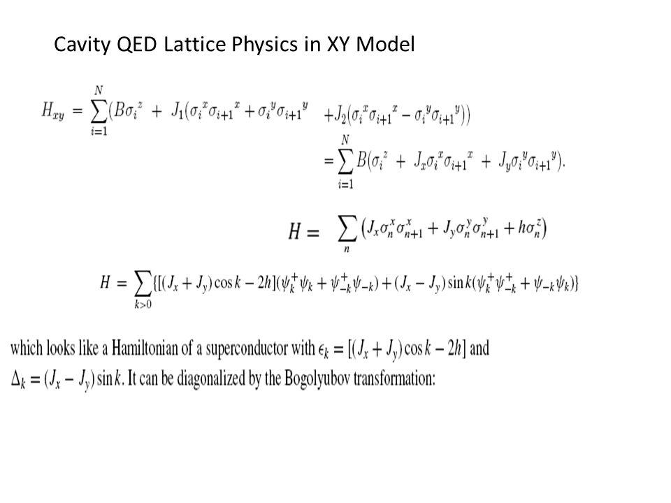 Cavity QED Lattice Physics in XY Model