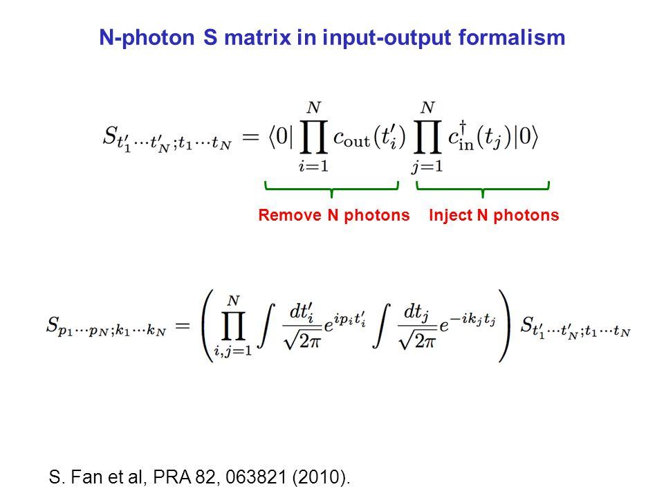 N-photon S matrix in input-output formalism S. Fan et al, PRA 82, 063821 (2010). Inject N photonsRemove N photons