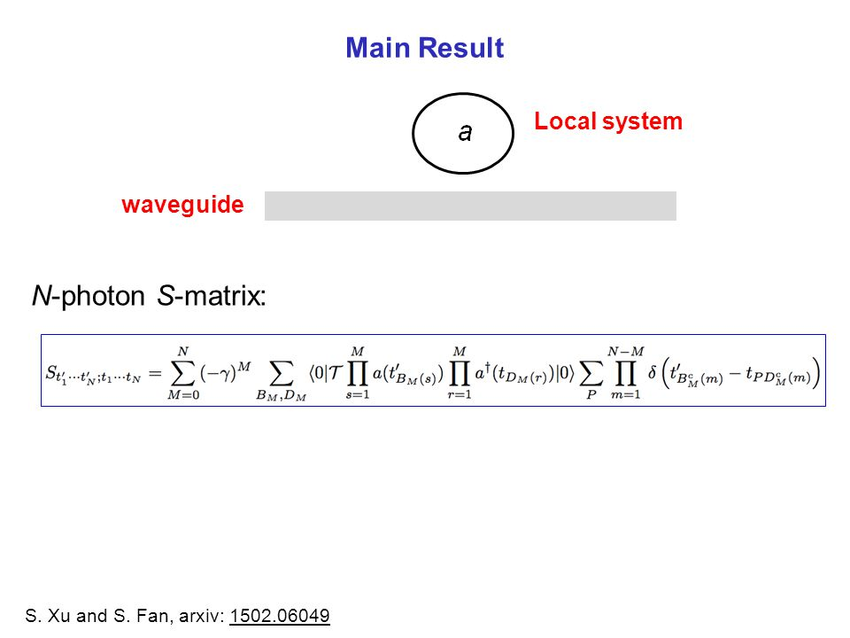 Main Result N-photon S-matrix: S. Xu and S. Fan, arxiv: 1502.06049 waveguide Local system
