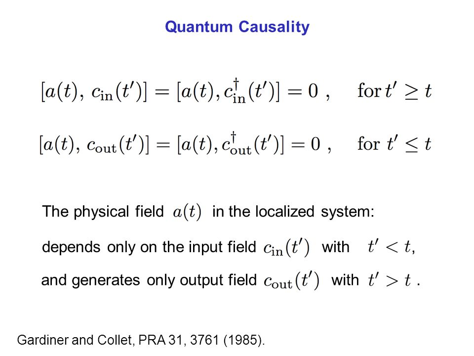 Quantum Causality Gardiner and Collet, PRA 31, 3761 (1985). The physical field in the localized system: depends only on the input field with, and gene