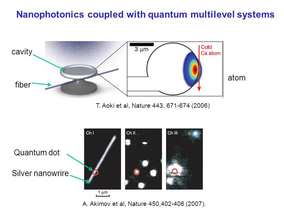 Nanophotonics coupled with quantum multilevel systems T. Aoki et al, Nature 443, 671-674 (2006) A. Akimov et al, Nature 450,402-406 (2007). fiber cavi