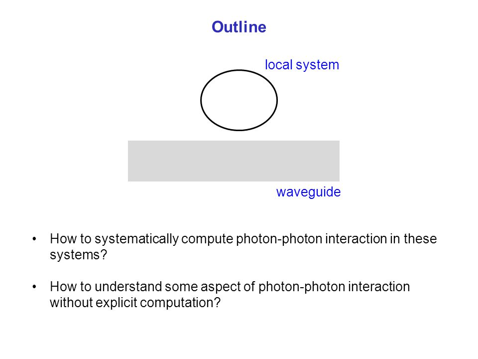 Outline waveguide local system How to systematically compute photon-photon interaction in these systems? How to understand some aspect of photon-photo