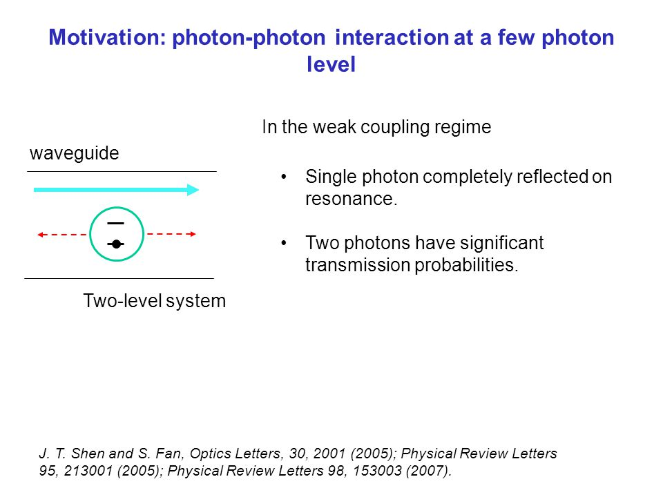 Motivation: photon-photon interaction at a few photon level waveguide Single photon completely reflected on resonance. Two photons have significant tr