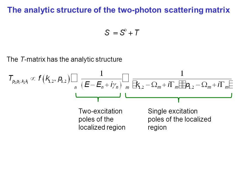 Analytic structure of the form of the two-photon S-matrix The T-matrix has the analytic structure Single excitation poles of the localized region Two-