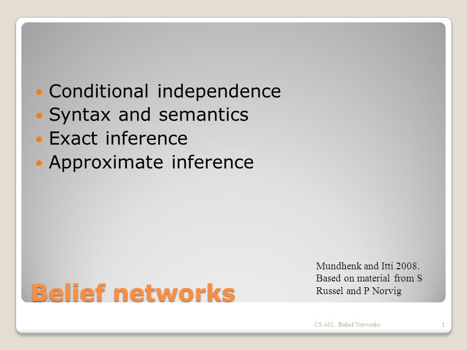 Belief networks Conditional independence Syntax and semantics Exact inference Approximate inference CS 460, Belief Networks1 Mundhenk and Itti 2008.