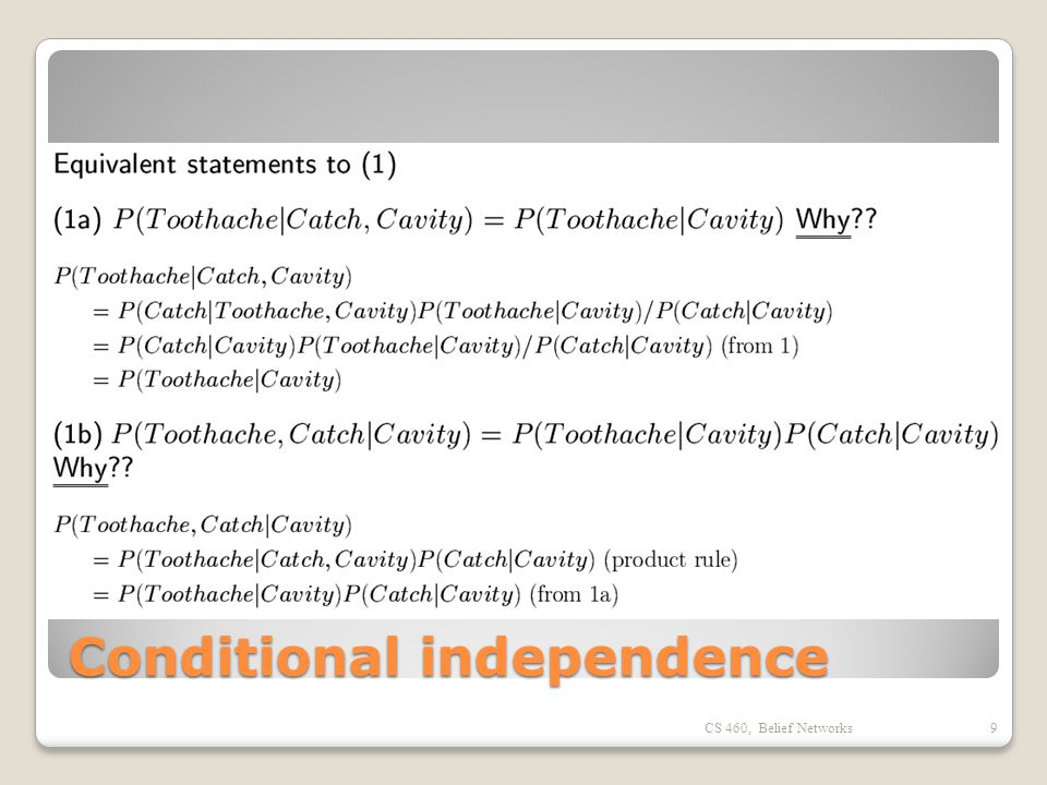 Conditional independence CS 460, Belief Networks9