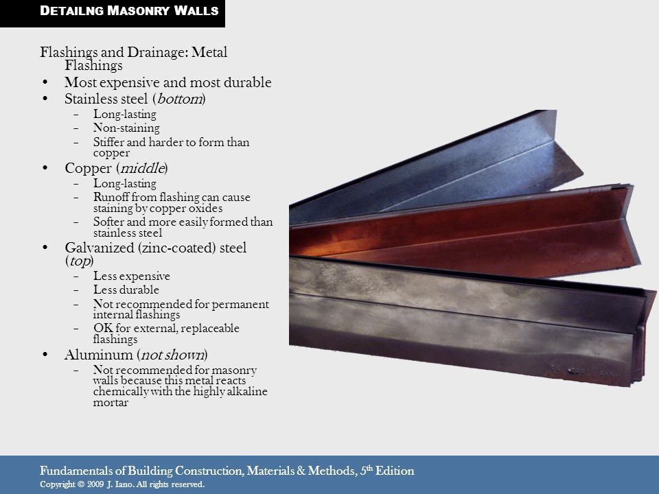 Fundamentals of Building Construction, Materials & Methods, 5 th Edition Copyright © 2009 J. Iano. All rights reserved. Flashings and Drainage: Metal