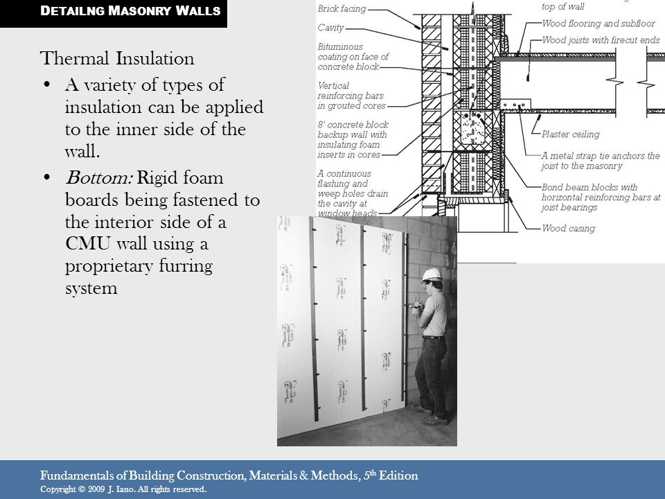 Fundamentals of Building Construction, Materials & Methods, 5 th Edition Copyright © 2009 J. Iano. All rights reserved. Thermal Insulation A variety o