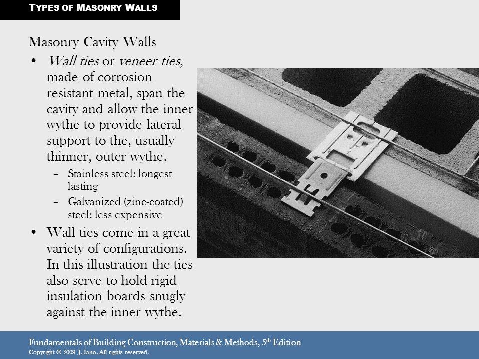 Fundamentals of Building Construction, Materials & Methods, 5 th Edition Copyright © 2009 J. Iano. All rights reserved. Masonry Cavity Walls Wall ties
