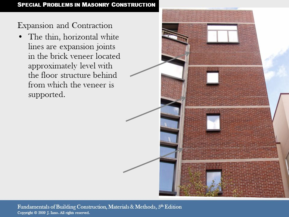 Fundamentals of Building Construction, Materials & Methods, 5 th Edition Copyright © 2009 J. Iano. All rights reserved. Expansion and Contraction The
