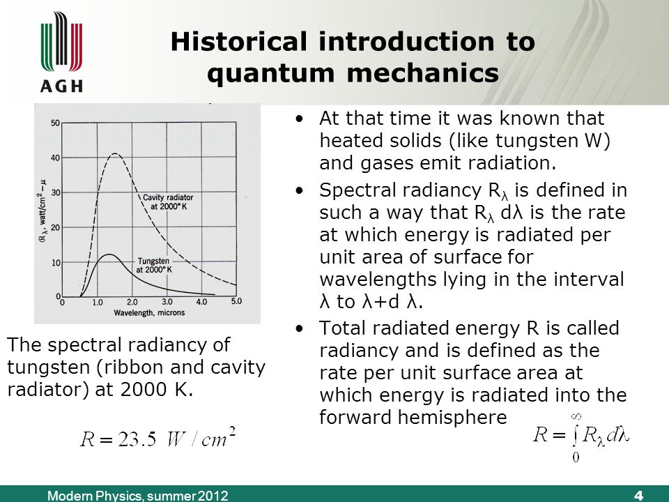 5 Modern Physics, summer 2012 Historical introduction to quantum mechanics Kirchhoff imagined a container – a cavity –whose walls were heated up so that they emitted radiation that was trapped in the container.