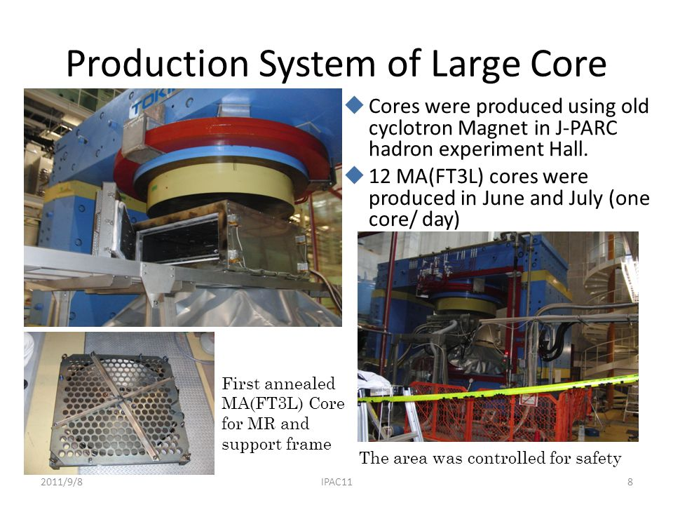 Production System of Large Core  Cores were produced using old cyclotron Magnet in J-PARC hadron experiment Hall.