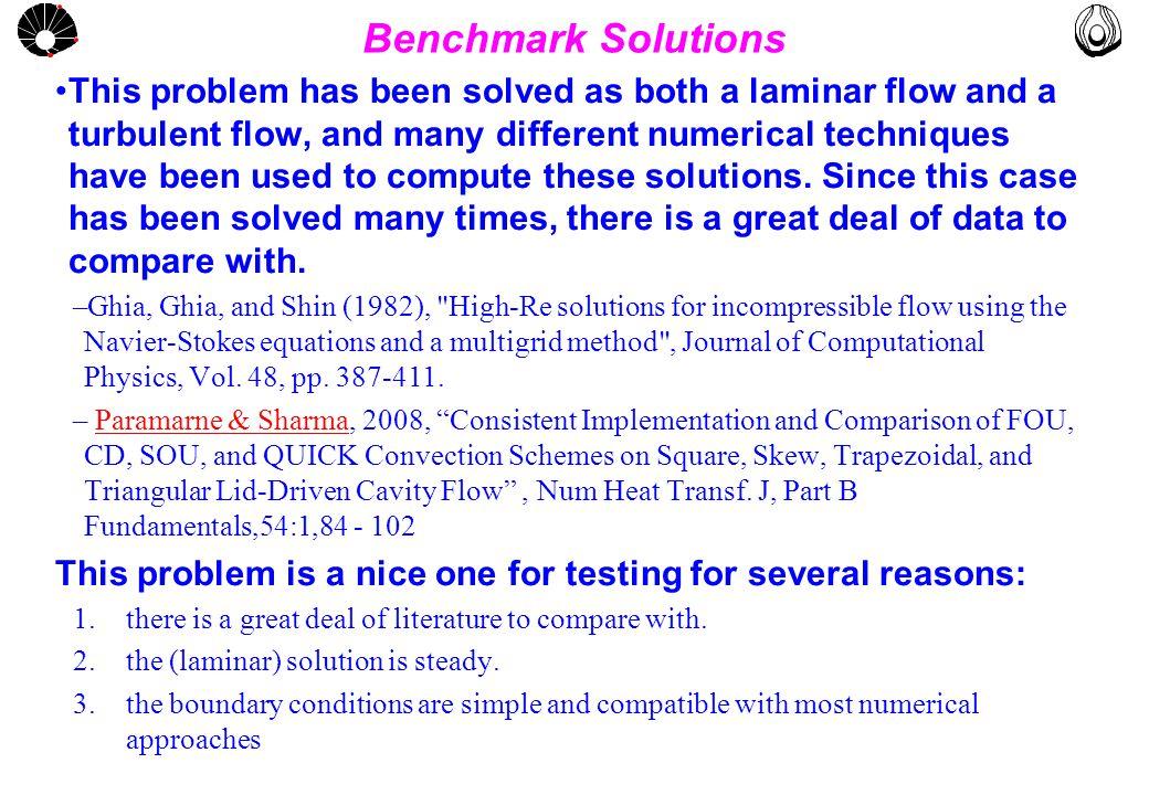 MULTLAB FEM-UNICAMP UNICAMP Input data for Re = 100 NX = NY = 40 XULAST=YVLAST=1m ULID = 0.0634m/s FLUID: GLYCERIN (65) Re = V.L/enul = 100 Use relax U1=V1=20 Ref Pressure Moving Lid Stationay Lids